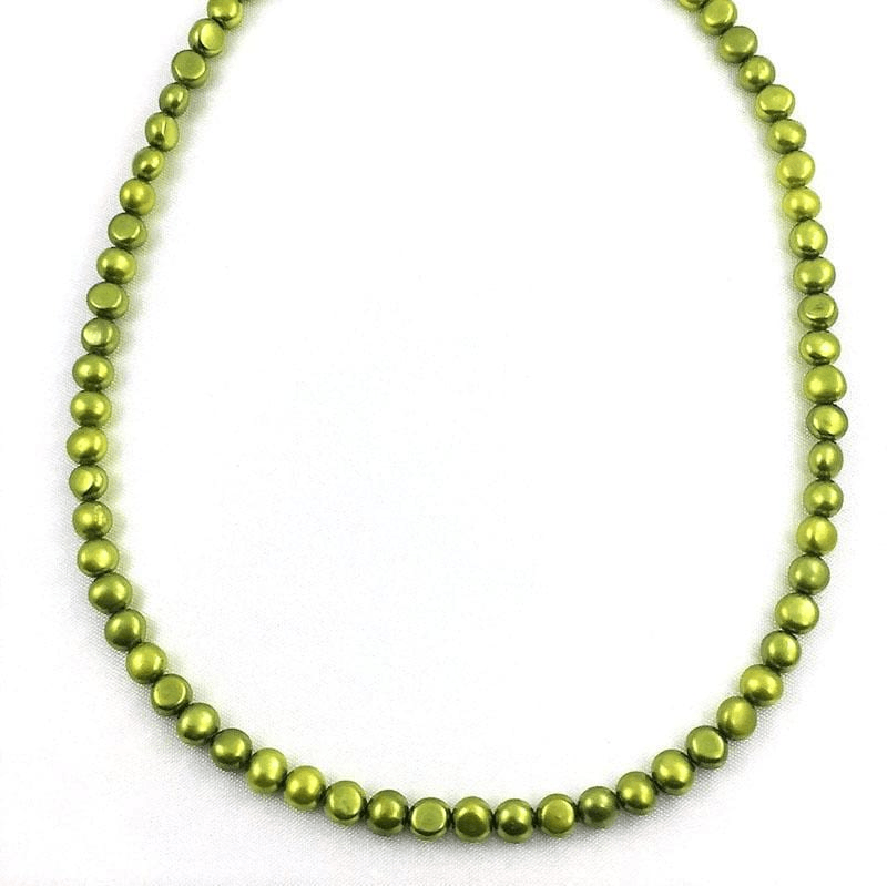 Peridot Bead Necklace Simulating Real Pearls