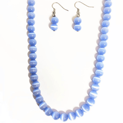 Crystal Beads Necklace Set in Sky Blue Handcrafted