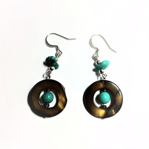 Mother of Pearl with Turquoise Earrings