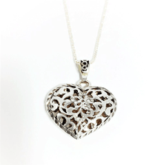 Filigree Heart Pendant in Sterling Silver Two Dimensional