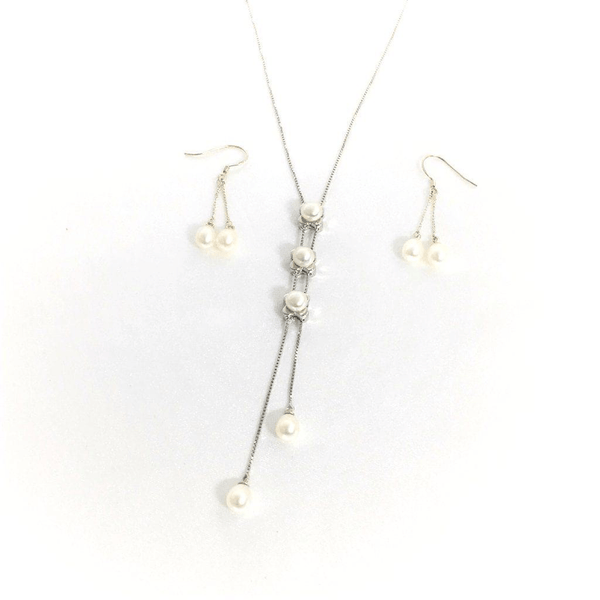Three Pearls Drop on a Sterling Silver Chain