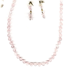 Pink Crystals Beads Necklace Set Handcrafted