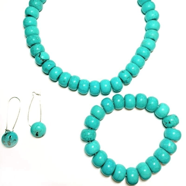 Bead Chunky Turquoise Necklace with  Bracelet and Earrings