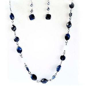 Lapis- Pearl - Chalcedony Necklace Set Handstrung