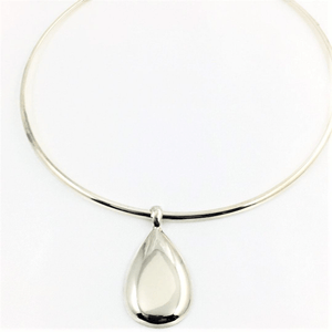 Brushed  Sterling Silver Choker and Pendant Set