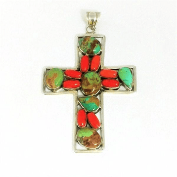 Turquoise and Coral Sterling Silver Cross Pendant