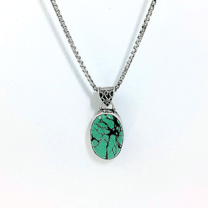 Sterling Silver  Oval Genuine Turquoise Stone Necklace
