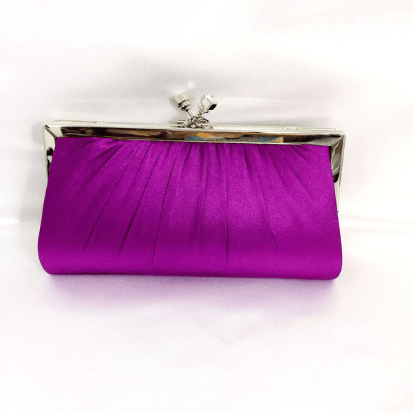 Silk Purple Clutch-Purse with Removable Silver Chain