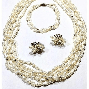 Baroque Freshwater Pearls Six Strands Necklace Set