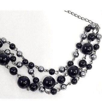 Handcrafted Black Grey Bead Multi Strand Bracelet