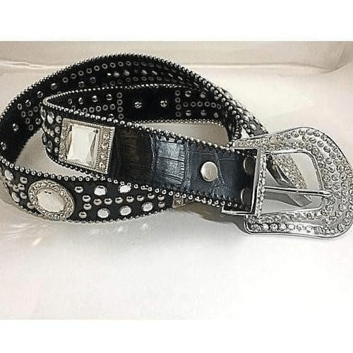 Black Leather Belt Southwestern Design