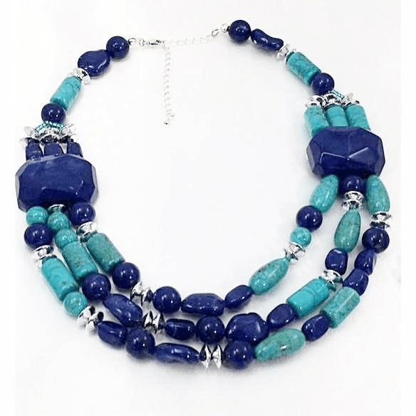 Chunky Bold Turquoise Lapis Necklace with Earrings