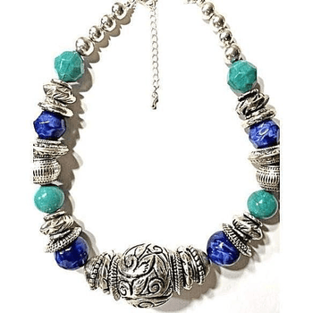 Chunky Turquoise Necklace Bold Silver Stone