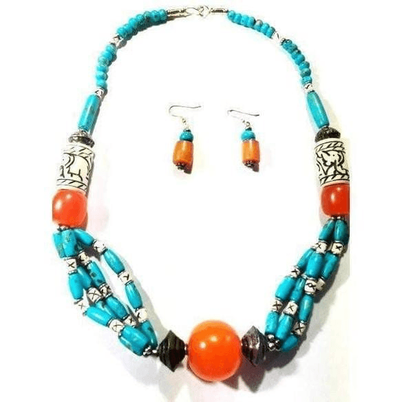 Handcrafted Tibetan Chunky Turquoise Necklace Set
