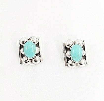 Clip On Turquoise Earrings Set in Sterling Silver