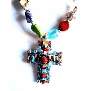Coral-Turquoise and Crystal Necklace Set with Removable Cross