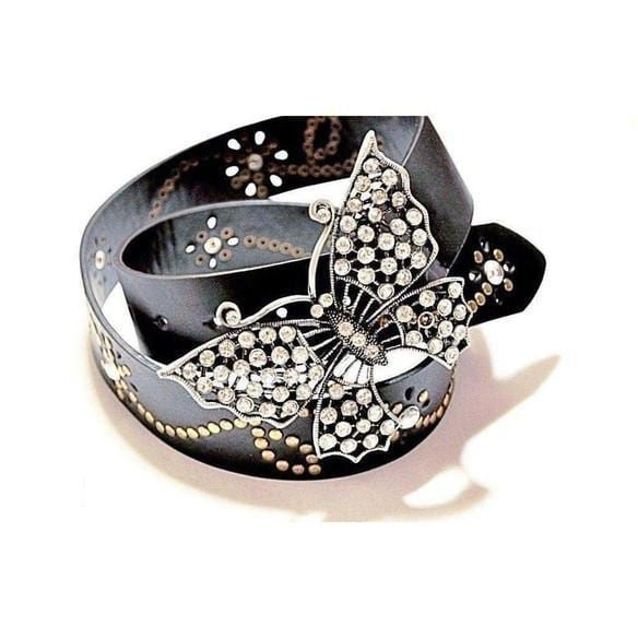 Cowhide Leather Belt Butterfly Rhinestone Buckle