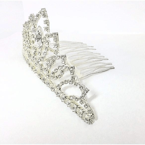 Crown Hair Comb Rhinestones in Silver