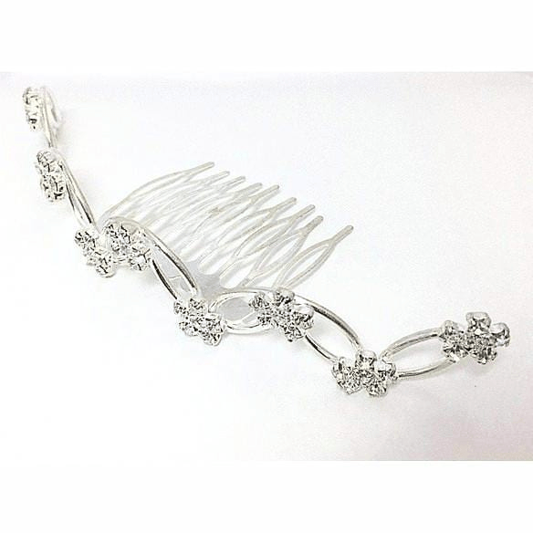 Rhinestone Ten Flowers Hair Comb in Silver