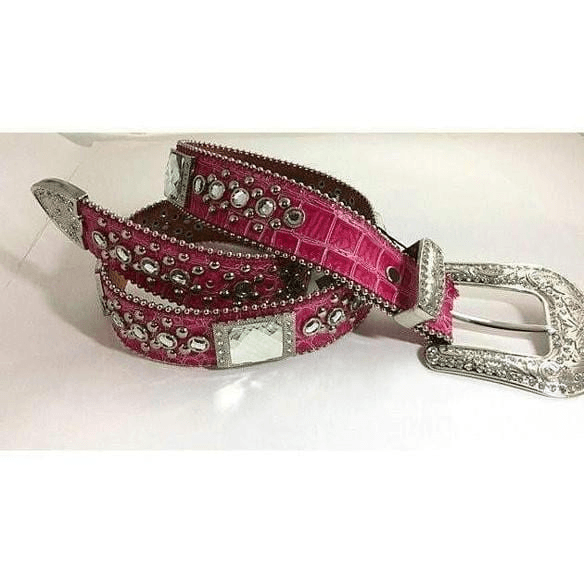 Southwestern Pink Rectangular Crystal Leather Belt