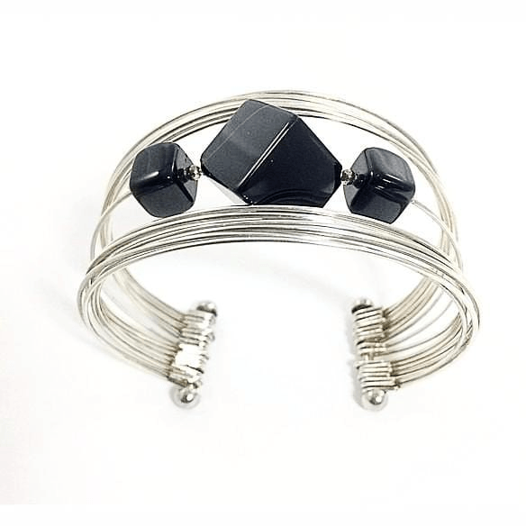 Wire Cuff Bracelet with Diamond Shaped Bead
