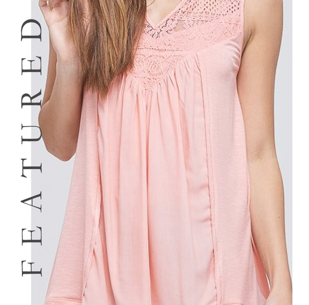 Featured - Light Coral Sleeveless Top