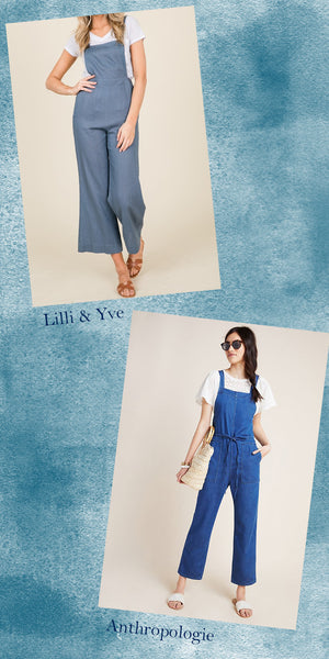 Inspired Looks - Chambray Blue Linen Capri Style Fitted Overalls