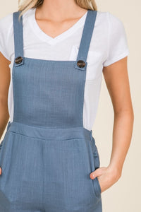 Chambray Blue Linen Capri Style Fitted Overalls