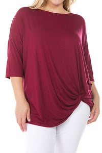 Curvy Burgundy Front Knot Top