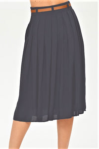 Charcoal Below the Knee Pleated Skirt w/ Pockets & Bow Belt