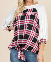 Red & Black Plaid High-Low Top with Front Knot (S,M,L)