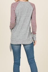 Heather Grey V-Neck Light Sweater with Wine Striped Sleeves & Side Tie