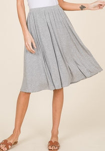 Heather Grey Knee Length Skirt w/ Pockets - S,M,L,XL