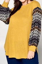 Curvy Marigold Yellow Light Knit Top w/ Chevron Accent Balloon Sleeves