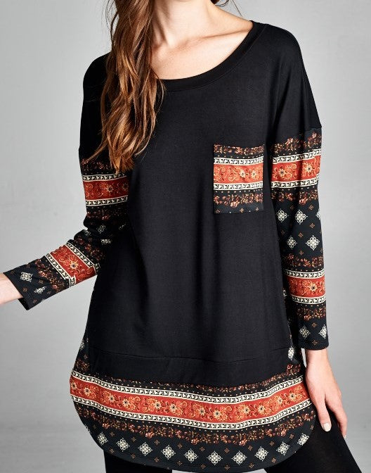 Black Tunic w/ Rust Indian Pattern Accents (S,M,L)
