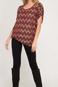 Wine & Gold Chevron Foiled Short Sleeve Top