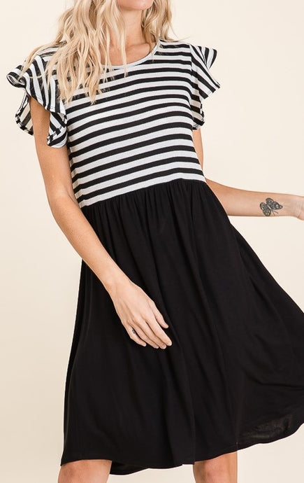 Black & White Striped Ruffle Sleeve Top Midi Dress w/ Black Bottom - S,M,L,XL