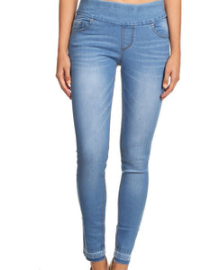 Light Blue Pull On Skinny Jegging with Raw Hem & Extra Wide Waistband