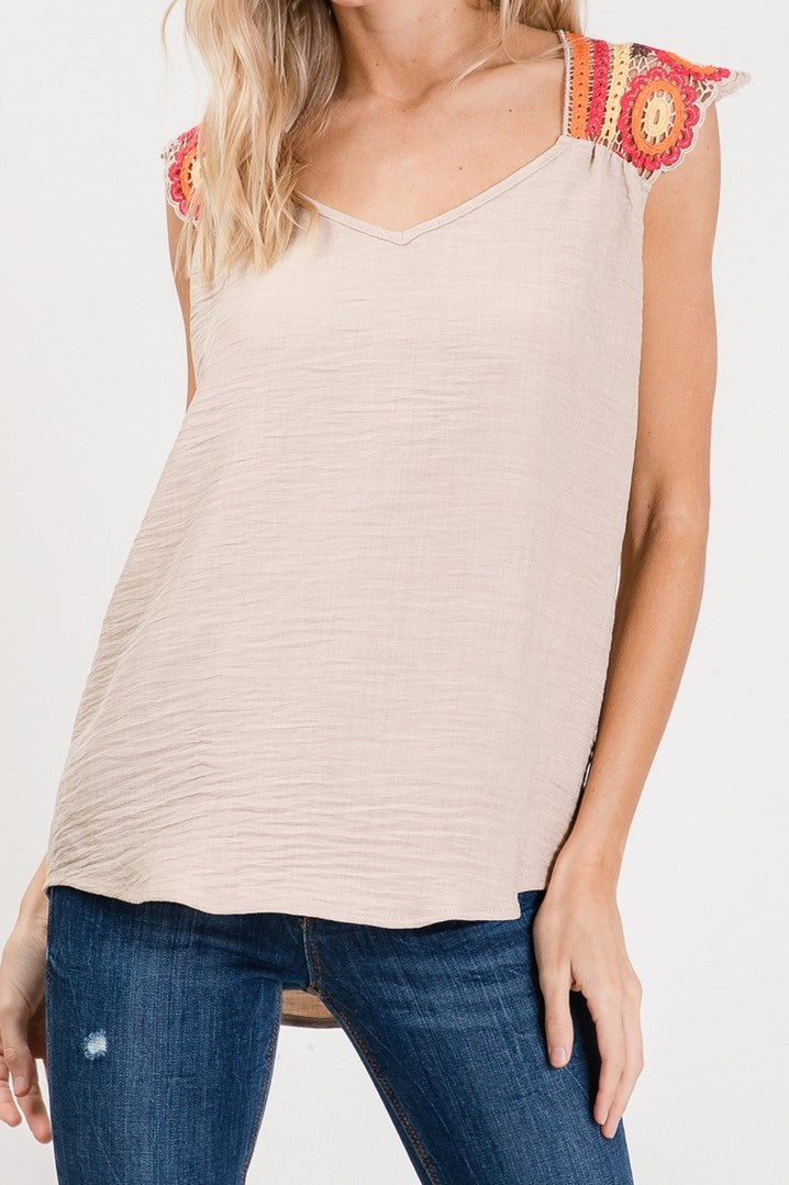 Taupe Sleeveless Top w/ Crochet Accent