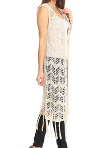 Tan Sleeveless Knit Chevron Lace Duster w/ Fringe Hem - One Size