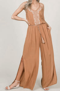 Gold V-Neck Sleeveless Jumpsuit w/ Embroidery & Side Slits - S,M,L