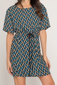 Teal Short Sleeve Geo Print Dress w/ Waist Tie
