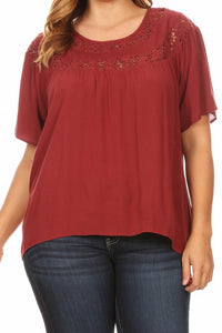 Curvy Burgundy Peasant Blouse w/ Crochet Accent