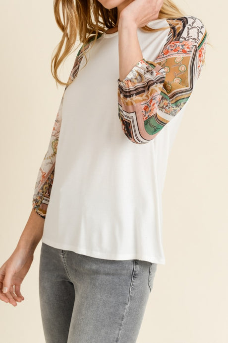 Ivory Jersey Top w/ Scarf Print Sleeves