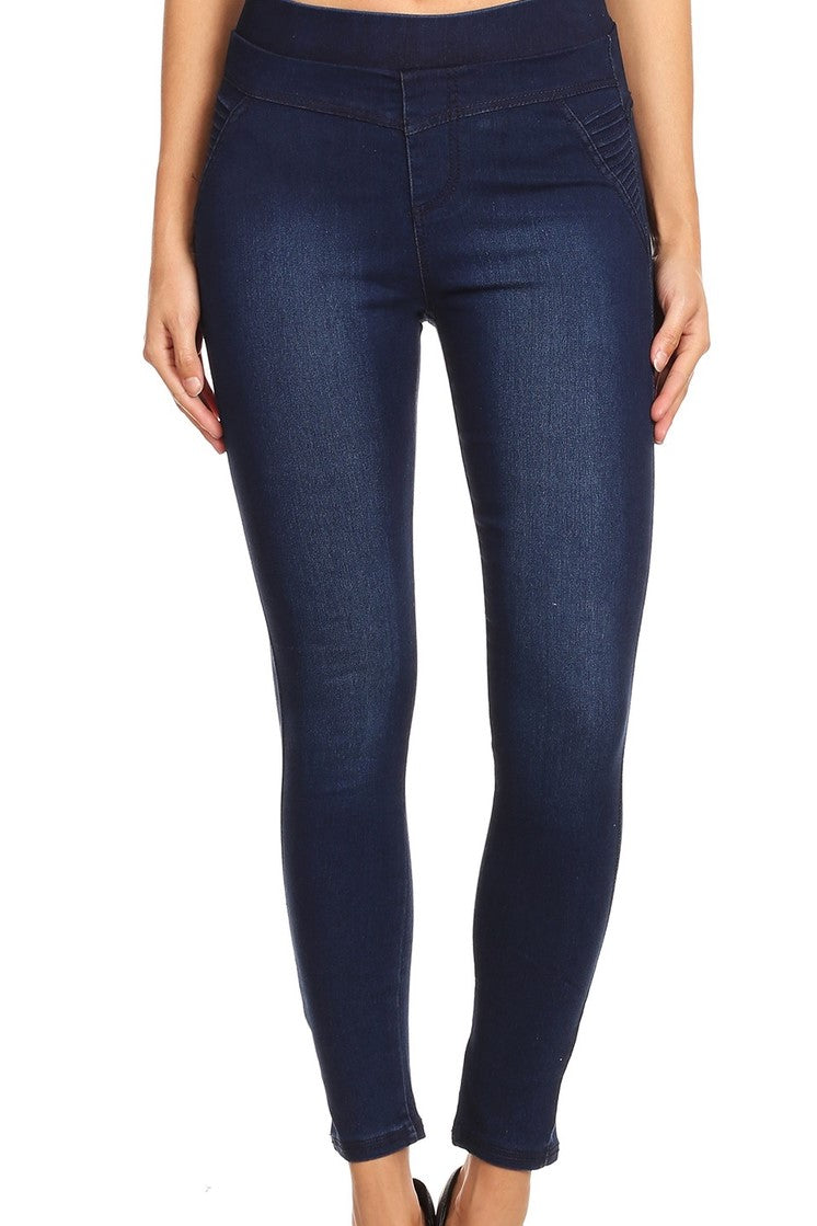 Dark Blue Denim Pull On Jegging w/ Moto Accent