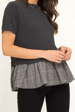 Charcoal & Checkered Houndstooth Peplum Top