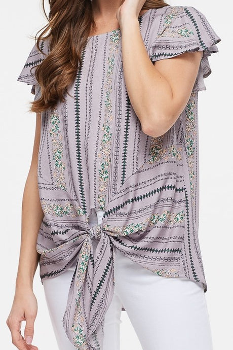 Lilac Scarf-Printed Ruffle Sleeve Tie Blouse - S,M,L,XL