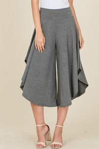 Charcoal Grey Midi Length Flowy Pant - S,M,L,XL
