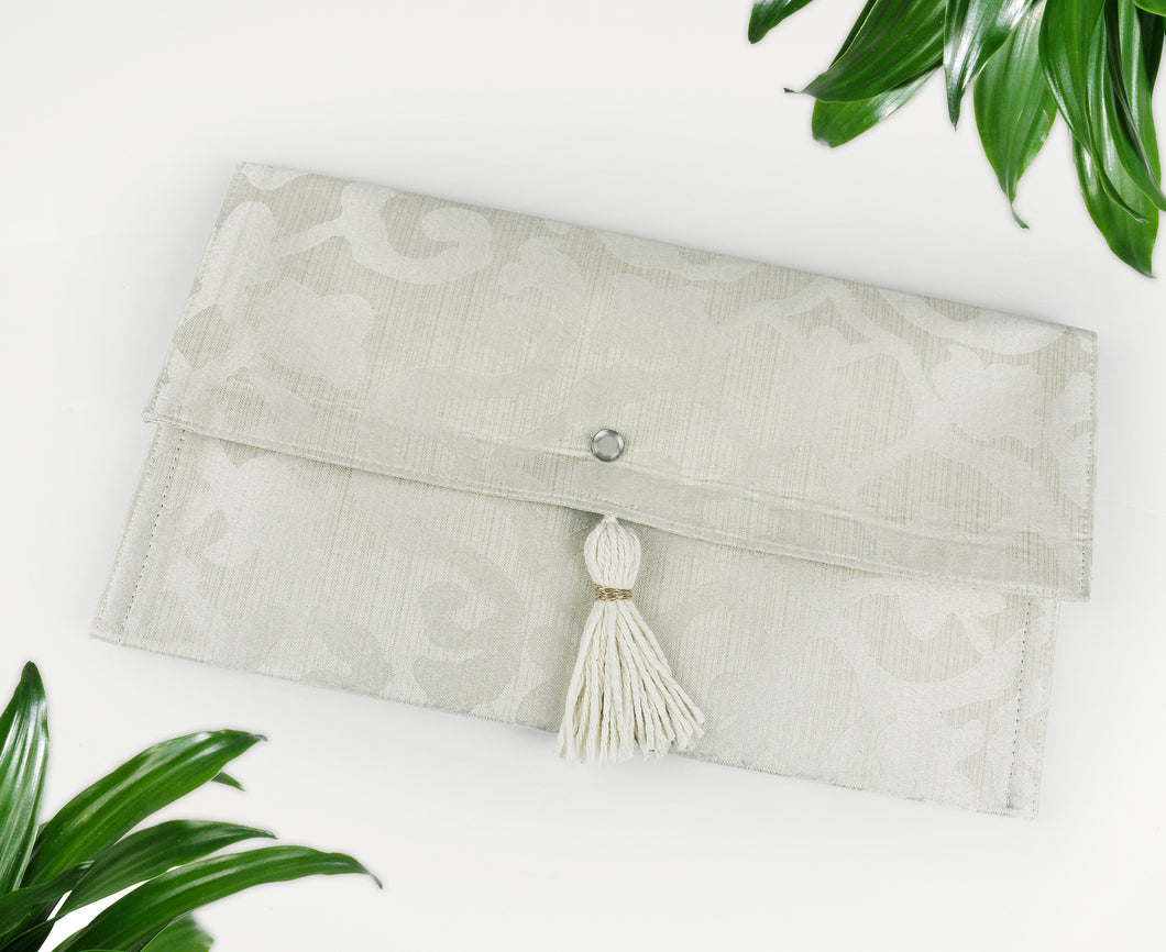 Classy Abstract Damask Clutch w/ Pearl Snap Closure & Cotton Tassel, Beige