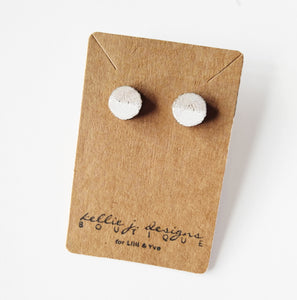 Birch Wood Stud Earrings w/ White Half